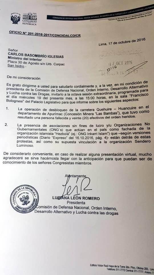Post de ripley luciana le n cree que hezbol est detr s for Como se llama el ministro del interior